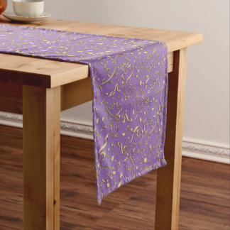 Customizable Color Gold Music Notes Table Runner