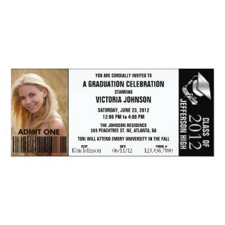 Customizable Color Graduation Admission Ticket 10 Cm X 24 Cm Invitation Card