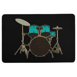 Customizable Color Teal Drum Set Music Mat