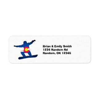 Customizable Colorado flag snowboard return labels