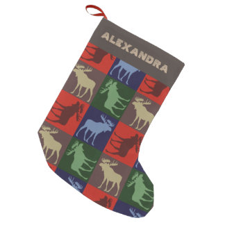Customizable colorful moose Christmas stocking