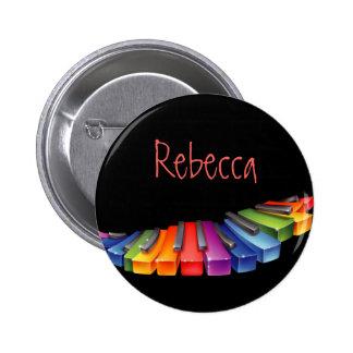 Customizable Colorful Piano Keys 6 Cm Round Badge