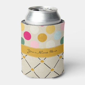 Customizable Colorful Polka Dots and Yellow Spades Can Cooler