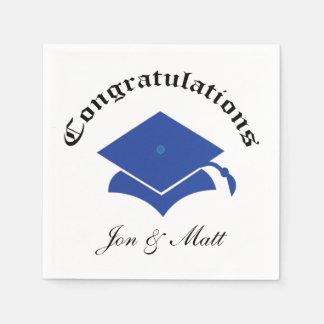 Customizable Congrats Graduation Napkins - Blue Paper Napkin