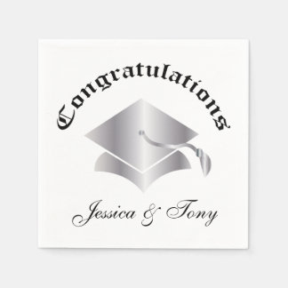 Customizable Congrats Graduation Napkins - Silver Disposable Napkin