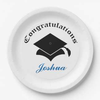Customizable Congrats on Graduation Plates - black