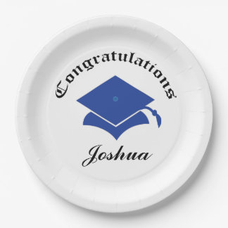 Customizable Congrats on Graduation Plates - Blue