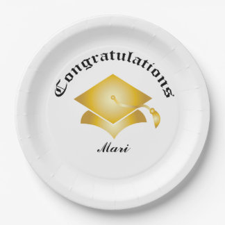 Customizable Congrats on Graduation Plates - Gold