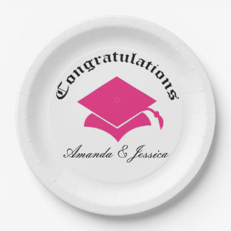 Customizable Congrats on Graduation Plates - pink