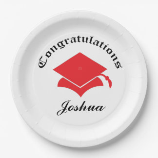 Customizable Congrats on Graduation Plates - red
