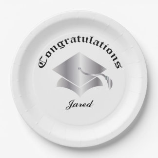 Customizable Congrats on Graduation Plates - Silv