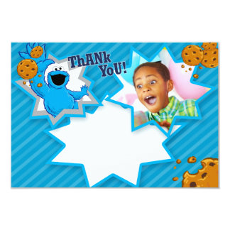 Customizable Cookie Monster Thank You 9 Cm X 13 Cm Invitation Card