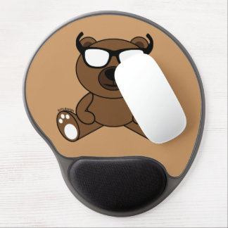 Customizable Cool brown bear with sunglasses Gel Mouse Pad