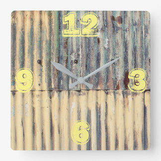Customizable Corrugated Sheet Metal Square Wall Clock