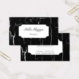 Customizable Cracked Black and White Marble Artist Business Card
