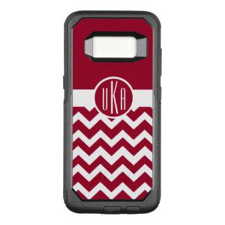 Customizable Crimson and White Monogram OtterBox Commuter Samsung Galaxy S8 Case