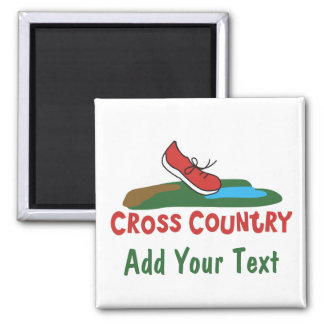 Customizable Cross Country Running Square Magnet