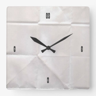 Customizable Crumpled Brown Paper Square Wall Clock