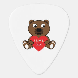 Customizable Cute Brown Bear with Heart I love You Guitar Pick