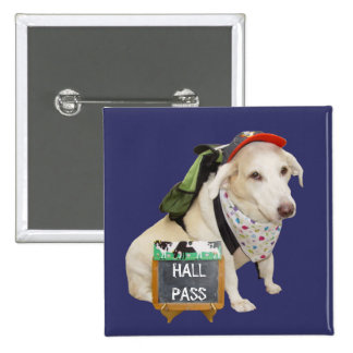 Customizable Cute Dog Hall Pass 15 Cm Square Badge