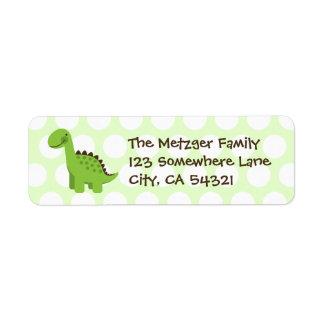 Customizable Cute Green Dinosaur Return Address Label