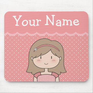 Customizable Cute Litte Girl -- PINK Mouse Pad