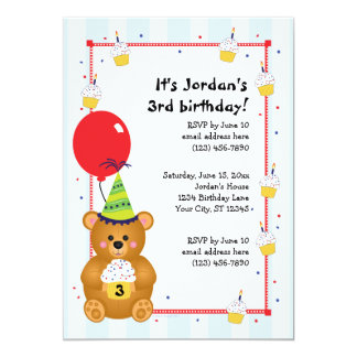 Customizable Cute Teddy Bear Birthday Invitation