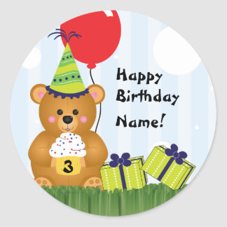 Customizable Cute Teddy Bear Birthday Sticker