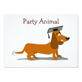 Customizable Dachshund Dog Graduation Template Card