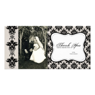 Customizable Damask Photo Thank You Card