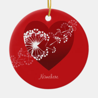 Customizable: Dandelion love heart Ceramic Ornament