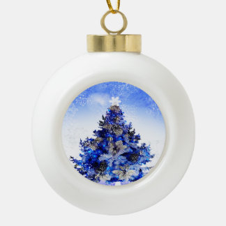 Customizable decorated blue christmas tree ceramic ball decoration