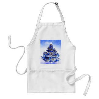 Customizable decorated blue christmas tree standard apron