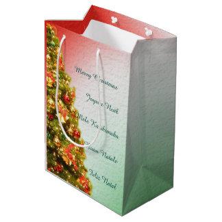 Customizable decorated christmas tree medium gift bag