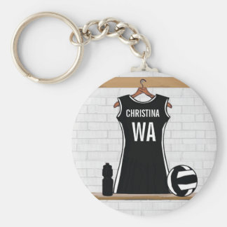 Customizable design netball black and white basic round button key ring