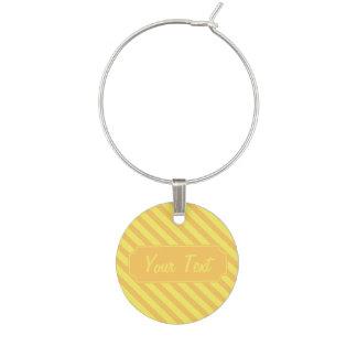 Customizable Diagonal yellow orange Stripes Wine Charm