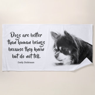 Customizable Dog & Emily Dickinson's Quote Beach Towel