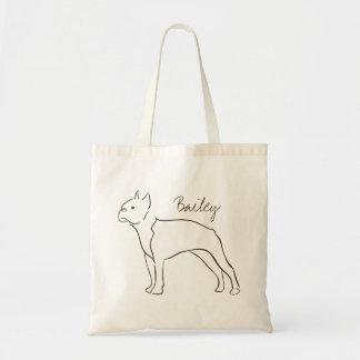 Customizable Elegant Drawn Boston Terrier Dog. Tote Bag