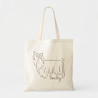 Customizable Elegant Hand Drawn Silky Terrier. Tote Bag
