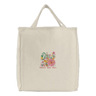 Customizable Embroidered  Word's Best Mom bag Embroidered Bag