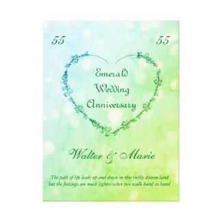 Customizable Emerald Wedding Anniversary Canvas Print