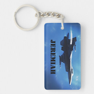 Customizable F16 Falcon Fighter Jet Single-Sided Rectangular Acrylic Key Ring