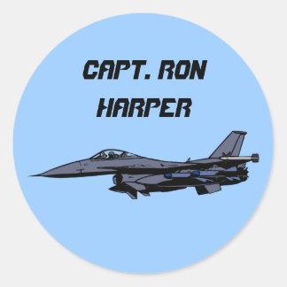 Customizable F16 Fighter Design Classic Round Sticker