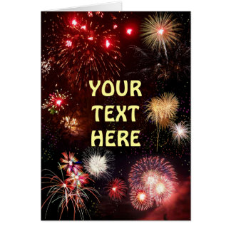 Customizable Fireworks Card