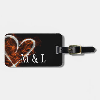 Customizable Flaming Heart Luggage Tag