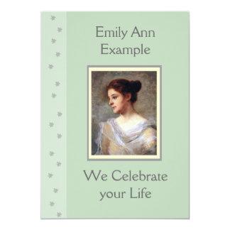 Customizable Floral Funeral / Wake / Memorial 13 Cm X 18 Cm Invitation Card