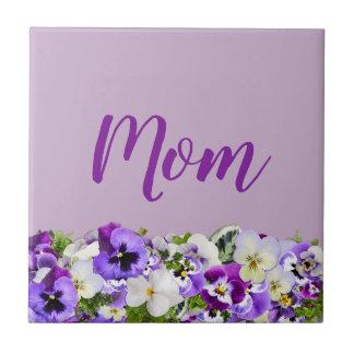 Customizable Floral Mom Ceramic Tile