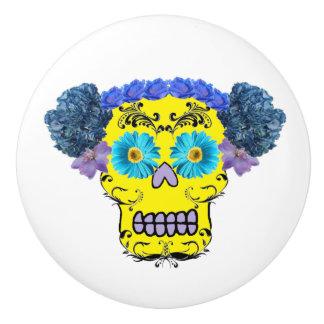 Customizable Floral Sugar Skull Ceramic Knob