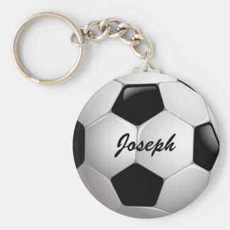 Customizable Football Soccer Ball Basic Round Button Key Ring