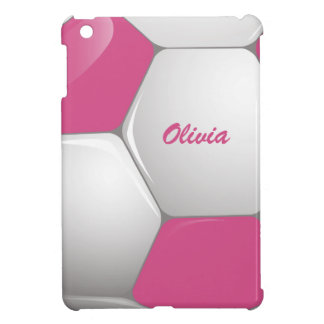 Customizable Football Soccer Ball Pink and White iPad Mini Covers